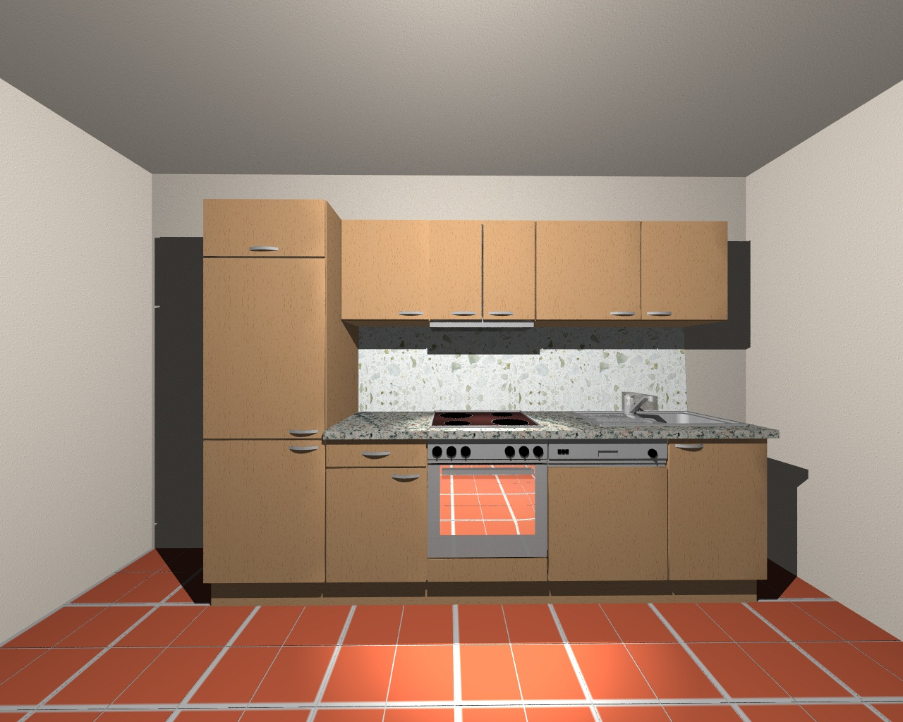 k chenblock 280 cm mit gsp und flachl fter in k nigsahorn m bel kurz. Black Bedroom Furniture Sets. Home Design Ideas